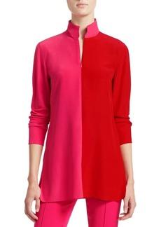 Akris Bi-Color Mockneck Silk Tunic