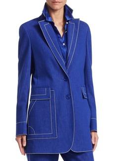 Akris Blueprint Cotton Denim Jacket