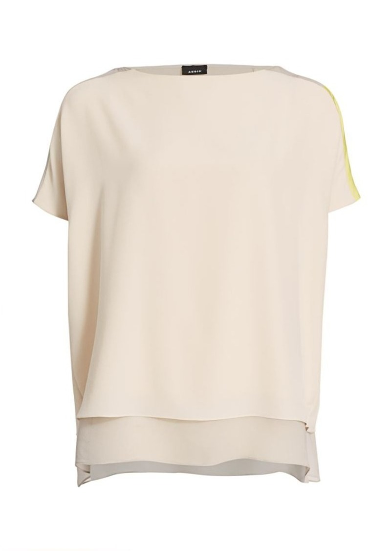 Akris Boxy Silk Colorblock Blouse