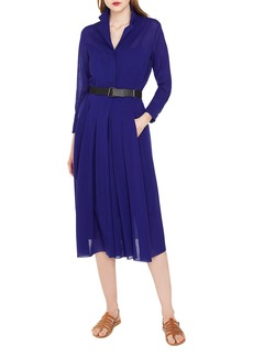 Akris Bracelet-Sleeve Pleated-Skirt Wool Crepe Georgette Shirtdress with Belt