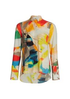 Akris Brushstroke-Print Wool Crepe Shirt
