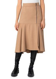 Akris Camel Zip-Front Flared Midi Skirt