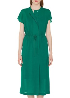 Akris Cap-Sleeve Button-Down Drawstring-Waist Wool Crepe Georgette Dress