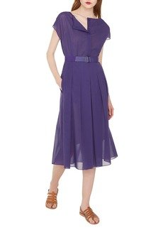 Akris Cap-Sleeve Button-Placket Belted Cotton Voile Midi Dress