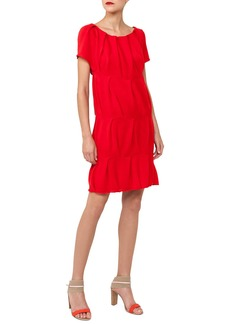 Akris Cap-Sleeve Round-Neck Ruched Knit Cotton Dress