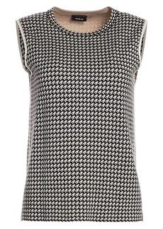 Akris Cashmere-Blend Houndstooth Shell Top