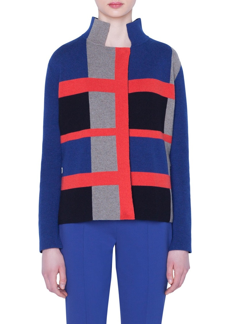 Akris Cashmere Double-Face Checked Jacket