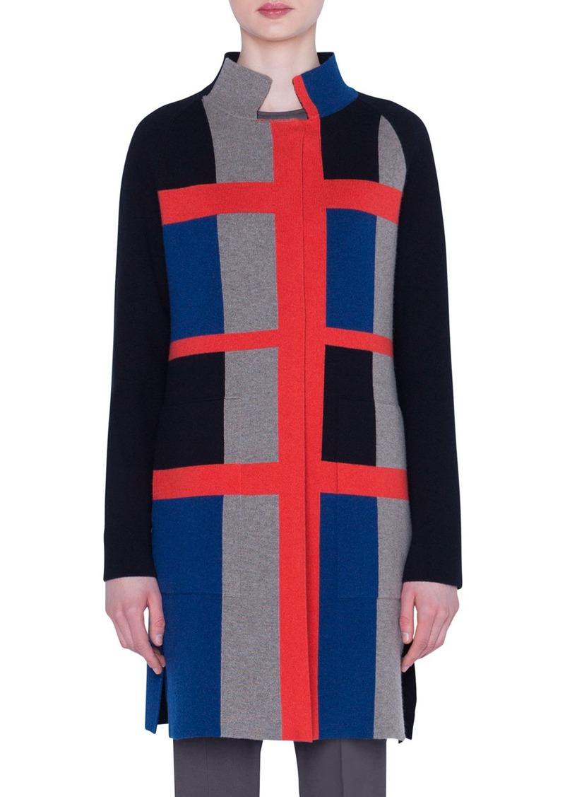 Akris Cashmere Double-Face Wool Jacquard Coat