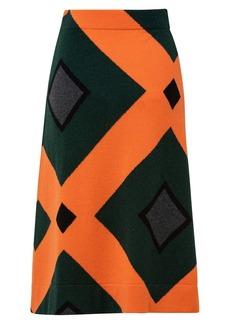 Akris Cashmere Intarsia A-Line Skirt