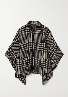 Akris Checked Cashmere And Mulberry Silk-blend Jacquard Cape