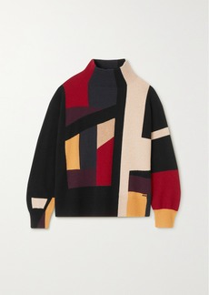 Akris Color-block Metallic Cashmere-blend Turtleneck Sweater