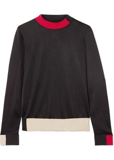 Akris Color-block Silk Turtleneck Sweater