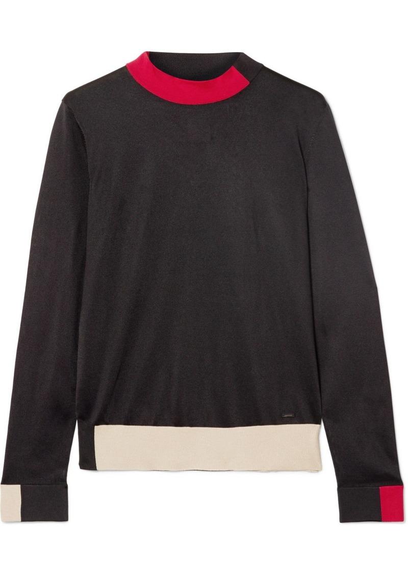 Akris Color-block Silk Turtleneck Sweater
