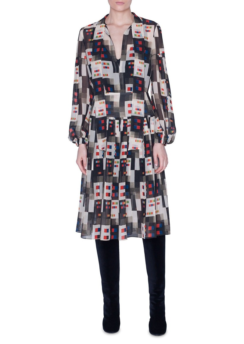 Akris Colorama Print Floaty Tie-Neck Dress