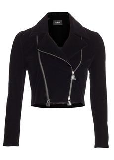 Akris Concordia Cropped Velvet Moto Jacket
