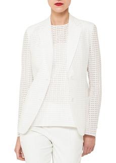 Akris Cotton-Silk Square-Ajoure Single-Breasted Blazer