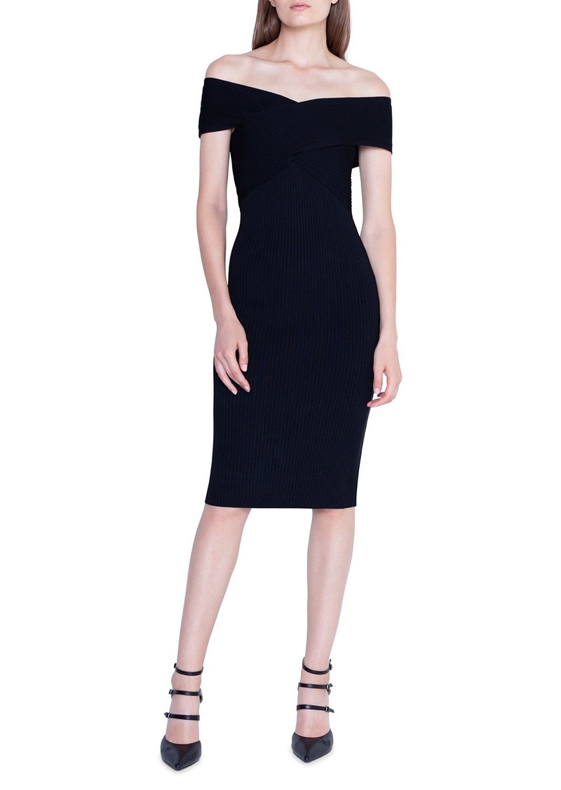 Akris Crisscross Off-the-Shoulder Bodycon Dress
