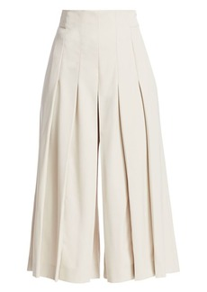Akris Cropped Pleated Wool Twill Culottes