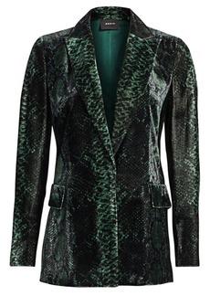 Akris Dayton Python-Print Velvet Jacket