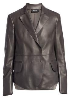 Akris Denada Scalloped Hem Leather Blazer