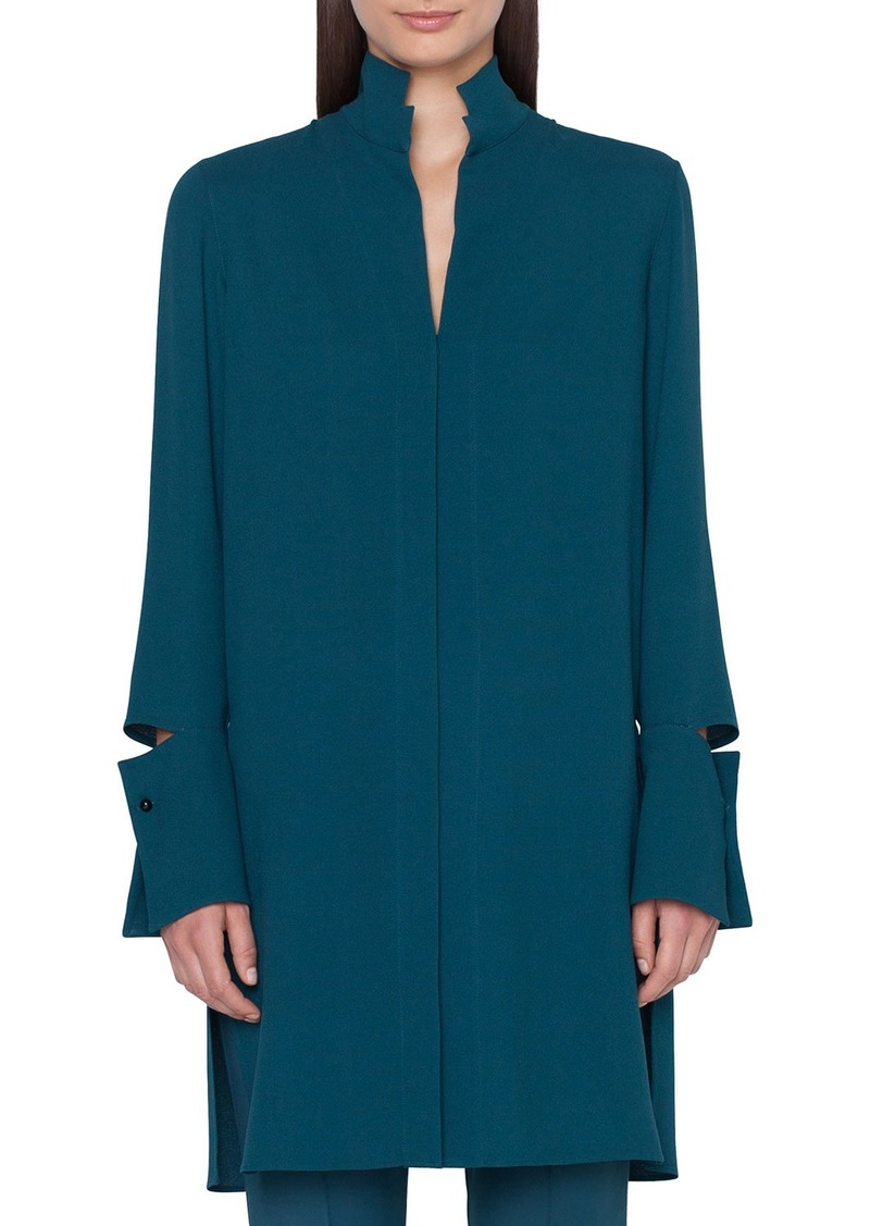 Akris Detachable-Cuff Silk-Crepe Button-Front Tunic