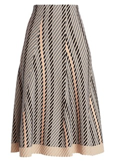Akris Diagonal Jacquard Tweed A-Line Skirt