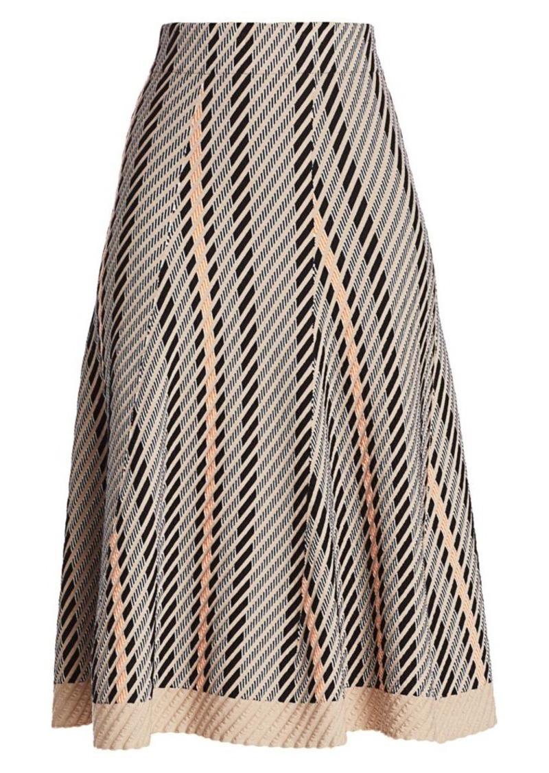 Akris Diagonal Jacquard Tweed A-Line Skirt