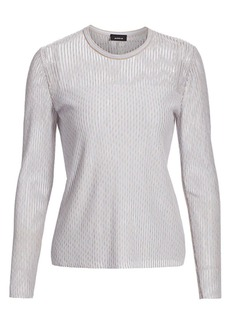 Akris Diagonal Jacquard Tweed Knit Pullover