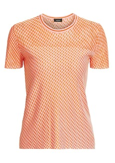 Akris Diagonal Tweed Cashmere & Silk Knit Top
