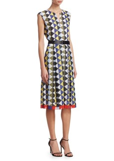 Akris Diamond-Stripe Belted Dress
