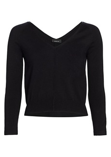 Akris Double V-Neck Silk Knit Sweater