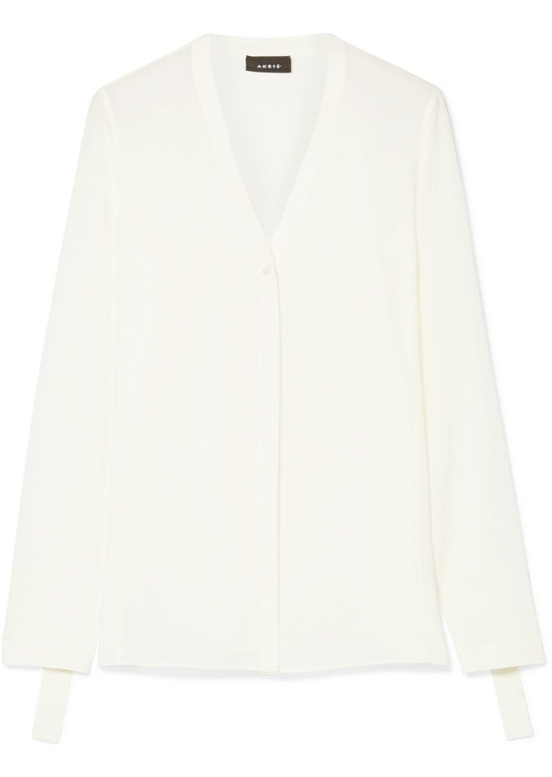 Akris Draped Georgette Blouse