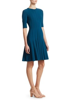 Akris Elbow Sleeve A-Line Pleat Dress