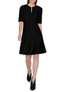 Akris Elbow-Sleeve Zip-Front Pleated A-Line Wool Dress