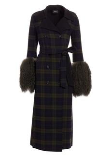 Akris Elea Plaid Removable Shearling Cuff Coat
