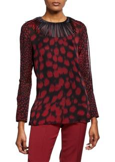 Akris Embellished-Collar Cheetah-Print Blouse  Mangosteen/Black
