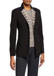 Akris Fernando Wool-Blend Leather-Lapel Jacket