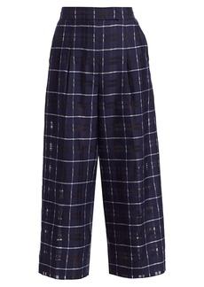 Akris Fira Cotton & Silk Plaid Cropped Pants