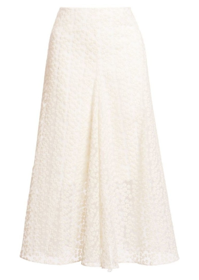Akris Floral Appliqué Midi Skirt