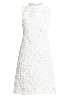 Akris Floral Crushed Jacquard A-Line Dress