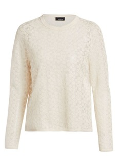 Akris Floral Embroidered Wool & Silk Knit Sweater