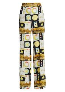 Akris Flore Panopaly Wide-Leg Silk Trousers