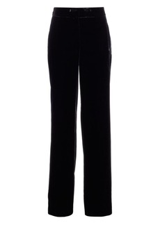 Akris Flore Wide Leg Techno Velvet Trousers