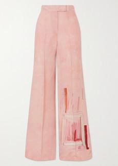 Akris Floretta Printed Wool And Silk-blend Wide-leg Pants