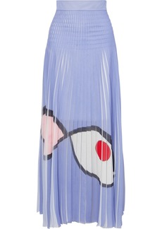 Akris Frayed Printed Plissé-organza Maxi Skirt