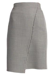Akris Fringe-Trim Faux Wrap Pencil Skirt