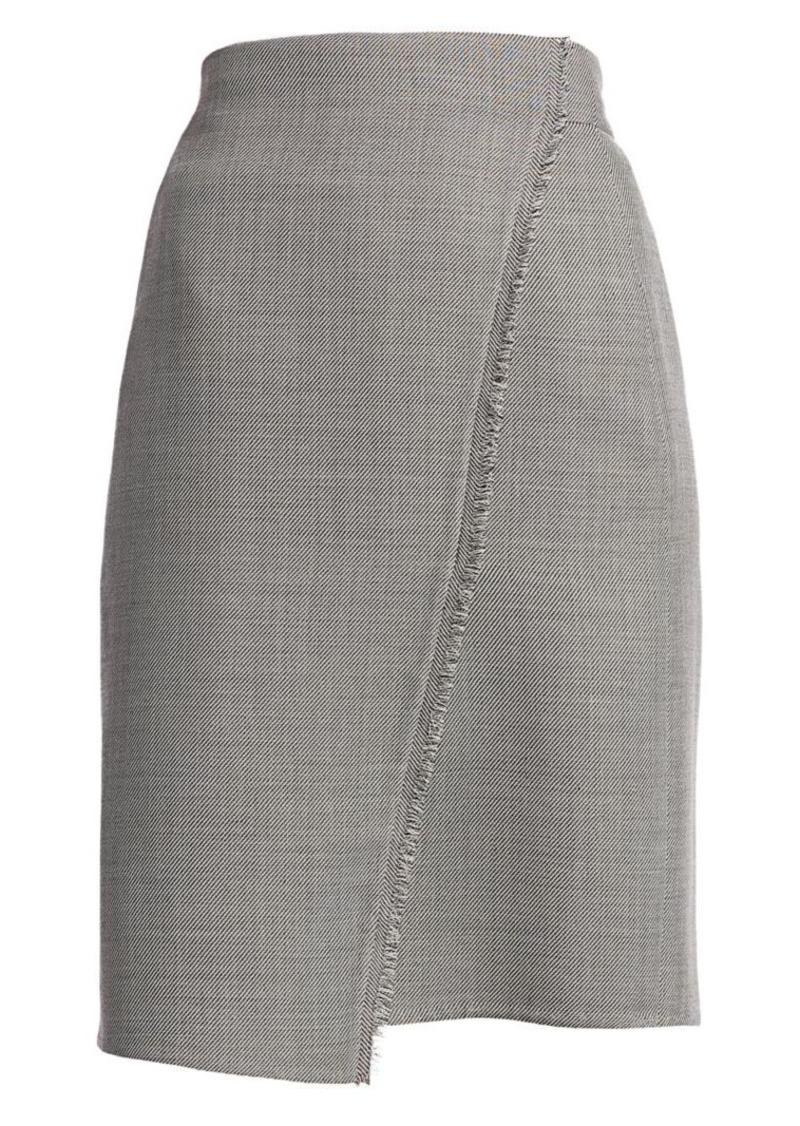 Akris Fringe-Trim Faux Wrap Pencil Skirt