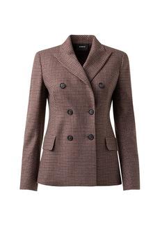 Akris Gala Double Breasted Cashmere Check Blazer