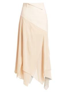 Akris Georgette Silk Asymmetric Maxi Skirt