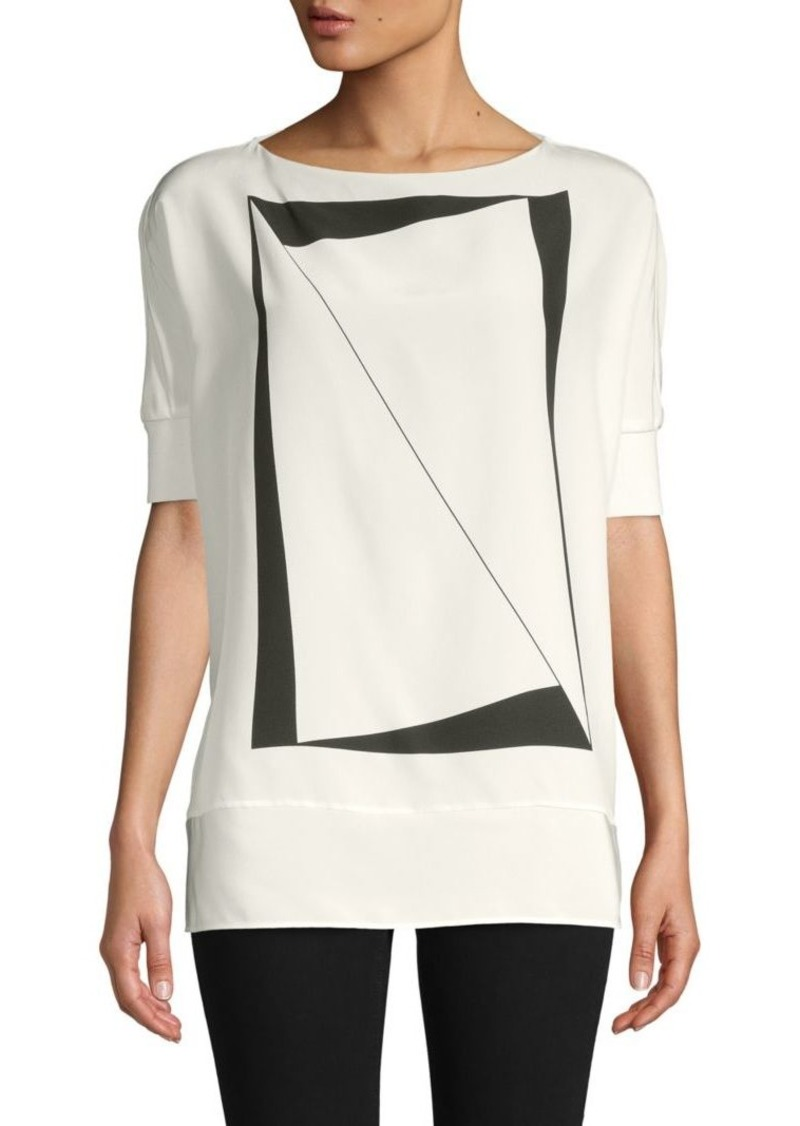 Akris Graphic Mulberry Silk Top